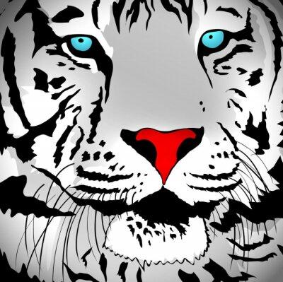 Наклейка Белый тигр портрет