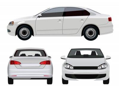Наклейка Белый Автомобиль - Седан с трех точек