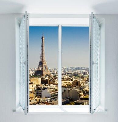 Наклейка Окно с Эйфелевой башни и крыши зрения
