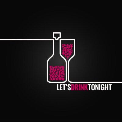 Наклейка Бутылка вина стекла линия дизайн 8 EPS