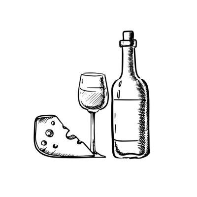 Наклейка Бутылка вина с бокалом и сыром