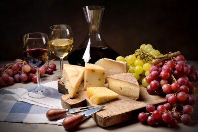 Наклейка Вино, виноград и сыр