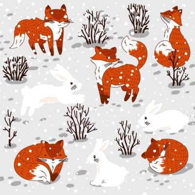 Наклейка Зимняя иллюстрация с милой лисы и кролика.