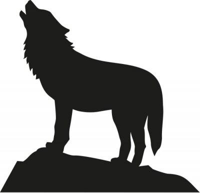 Наклейка Волк стоял и выл