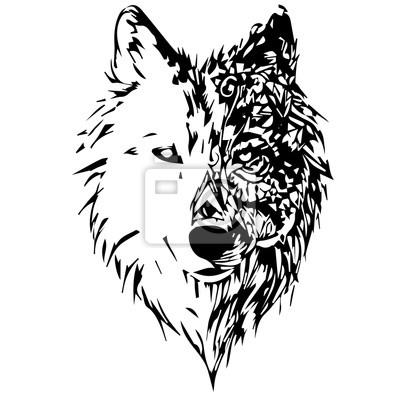 Наклейка волки