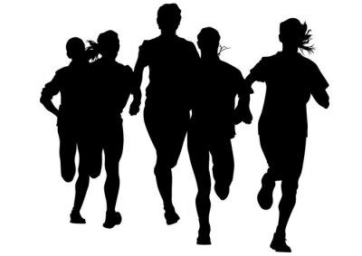 Наклейка Женщина спортсмены на соревнованиях по бегу на белом фоне