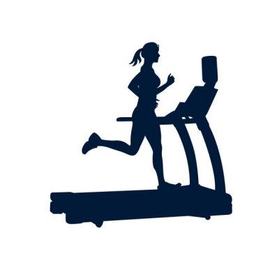 Наклейка женщина делает упражнения на беговой дорожке, на белом фоне,