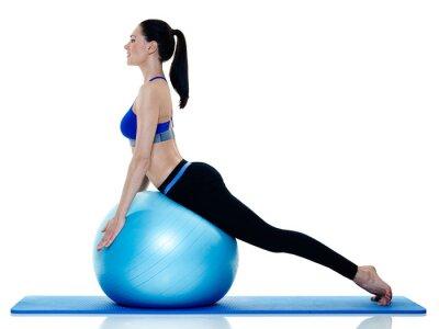 Наклейка женщина пригодности пилатеса Упражнений изолированных