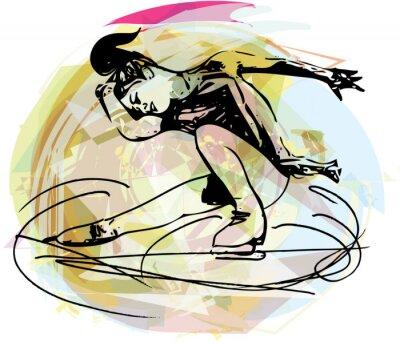 Наклейка woman ice skater skating at colorful sports arena