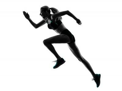 Наклейка Женщина бегун, работающие бегун трусцой силуэт