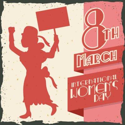 Наклейка Женщина силуэт Маршевый в день женского ретро плакат, векторные иллюстрации IlVector