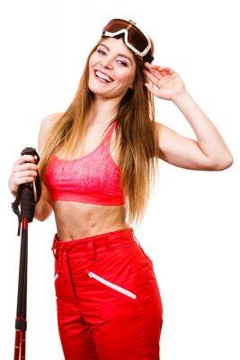 Наклейка Женщина лыжник в Googles с лыжными палками. Зимний вид спорта