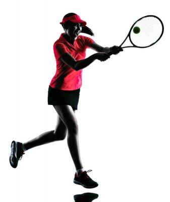 Наклейка женщина теннисистка силуэт печаль