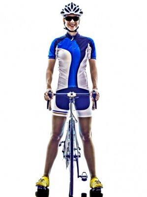 Наклейка женщина триатлон Ironman спортсмен велосипедист на велосипеде