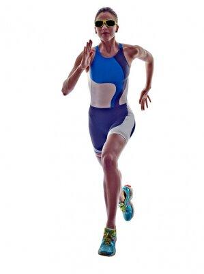 Наклейка женщина триатлон Ironman бегун работает спортсмен