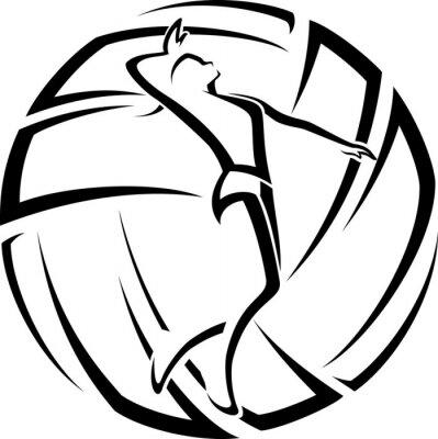 Наклейка Женщина Волейбол Акцент
