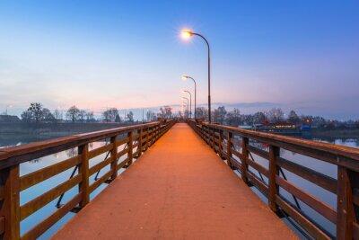 Наклейка Деревянный мост через реку Ногат в замке Мальборк, Польша