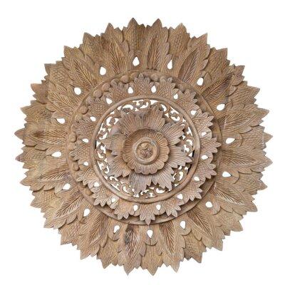 Наклейка Wooden pattern of flower on carve teak wood in circle shape.