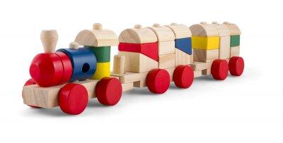 Наклейка Деревянный игрушечный поезд с красочными блоков, изолированных на белом