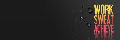 Наклейка Работа - Пот - Достижение - Тренировка и Фитнес Мотивация Цитата - Творческий Книгопечатание Современные Баннер Концепция - Капли дождя - синий