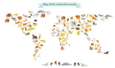 Наклейка Карта Мира млекопитающее силуэты. Животные карта мира. Изолированные на белом фоне векторные иллюстрации. Красочные иллюстрации мультфильм для детей и других людей. образование