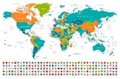 Наклейка Карта мира и флаги - границы, страны и города - иллюстрация