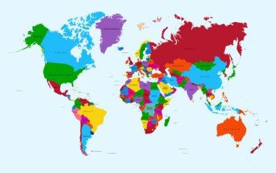 Наклейка Карта мира, красочные страны атлас векторный файл EPS10.