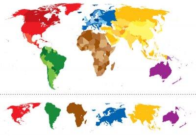 Наклейка Карта мира континенты разноцветные