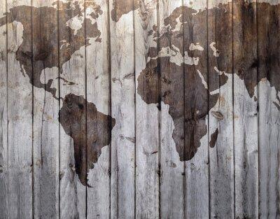 Наклейка Карта мира обращено на холсте под дерево