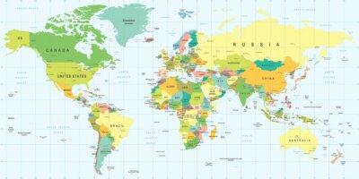 Наклейка World Map - highly detailed vector illustration.