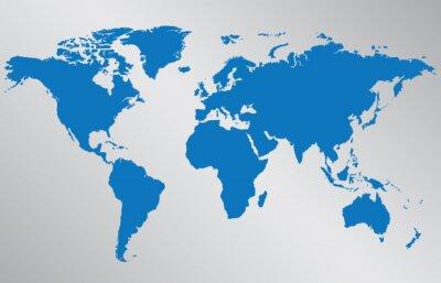 Наклейка Карта мира иллюстрации на сером фоне