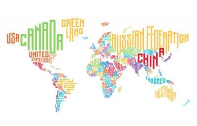 Наклейка Карта мира сделаны из типографских названий стран
