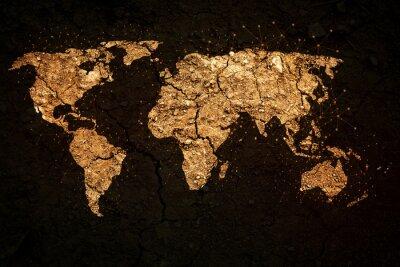 Наклейка карта мира на фоне гранж
