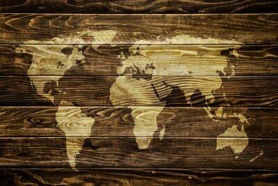 Наклейка Карта мира на фоне дерева