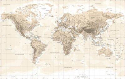 Наклейка World Map Physical - Vintage Retro Old Style - Vector Detailed Illustration