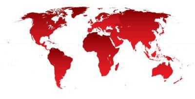 Наклейка Карта мира красные континенты
