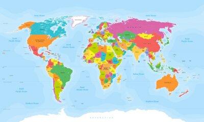 Наклейка Карта мира вектор. Английский / США этикетки