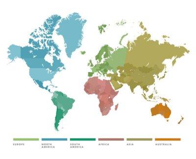 Наклейка Карта мира с континентом в другом цвете