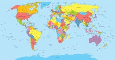 Наклейка Карта мира со странами, страны и названий городов