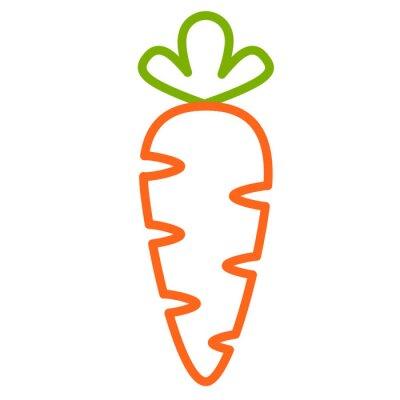 Наклейка Плоская иконка морковь. Контурная векторная иллюстрация морковки. контурный дизайн
