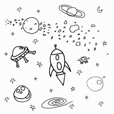 Наклейка Космические объекты на белом фоне