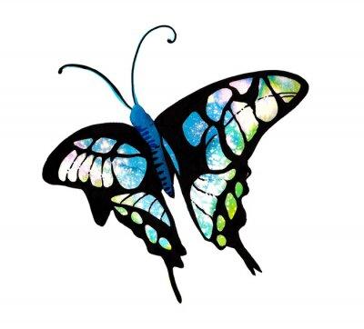 Наклейка 수채화 타이 다이 기법 으로 표현한 나비