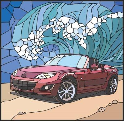 Наклейка Автомобиль на берегу моря (Автомобиль на пляже)