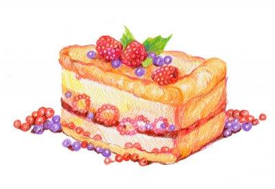 Наклейка торт с ягодами