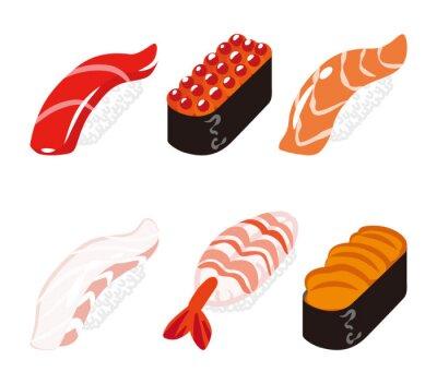Наклейка 寿司 六 貫 白 バ ッ ク セ ッ ト - суши шесть объектов набор