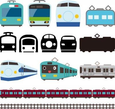 Наклейка 電車 と 新 幹線 の ア イ コ ン と ラ イ ン