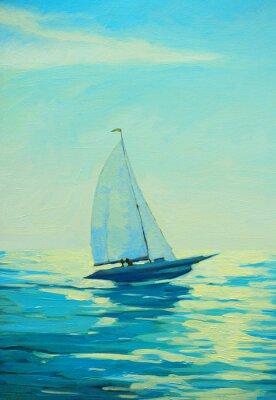 Наклейка яхта с парусом на утреннем Средиземноморская приморской, живопись