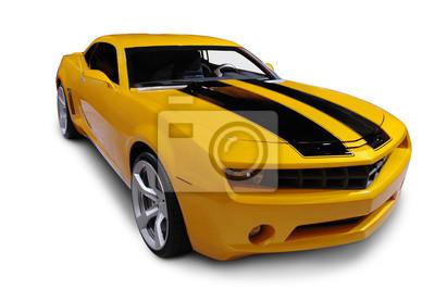 Наклейка Желтый американский спортивный автомобиль