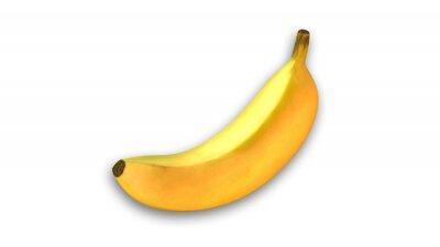 Наклейка Желтый банан, фрукты на белом фоне