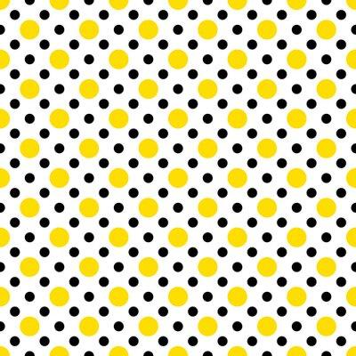 Наклейка Желтый и черный горошек на белом фоне Wallpaper
